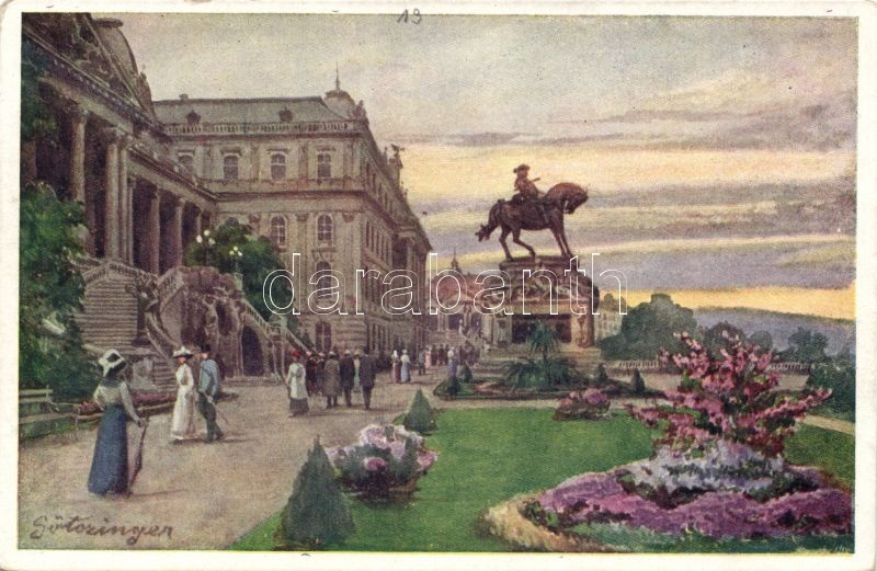 Budapest I. Királyi vár, Jenő herceg szobra, B.K.W.I. 280-11. s: Götzinger