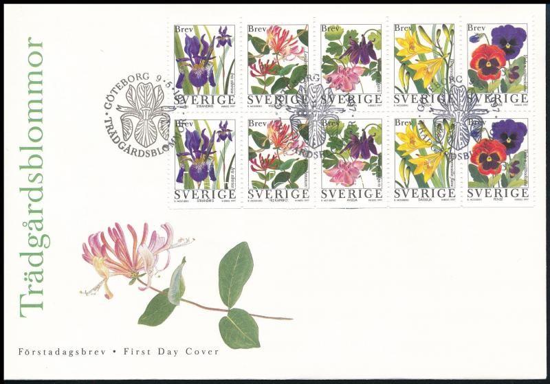 Flower stamp-booklet sheet FDC, Virág bélyegfüzetlap FDC-n