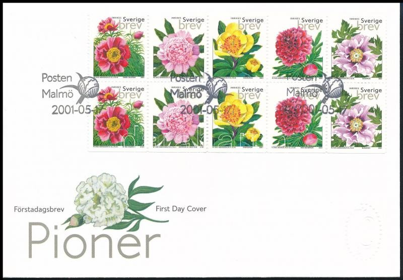Flower block of 10 FDC, Virág 10-es tömb FDC-n