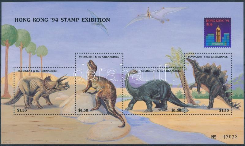 Prehistoric animals, Hong Kong Stamp Exhibition block, Ősállatok, hongkongi bélyegkiállítás blokk