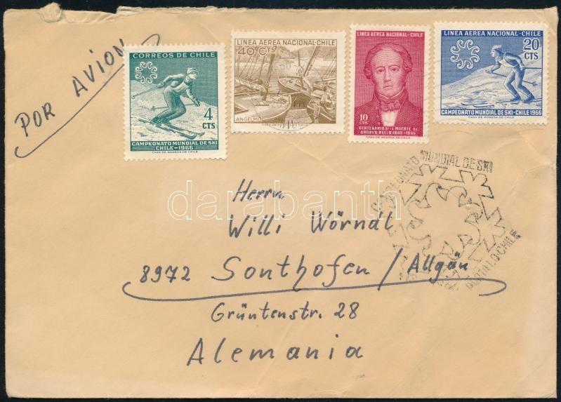 Skiing World Cup stamps on airmail cover to Germany, Sí világbajnokság bélyegek és alkalmi bélyegzés légi levélen Németországba