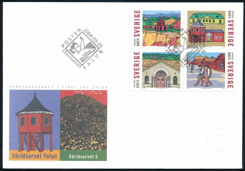 UNESCO block of 4 on FDC, UNESCO négyestömb FDC-n