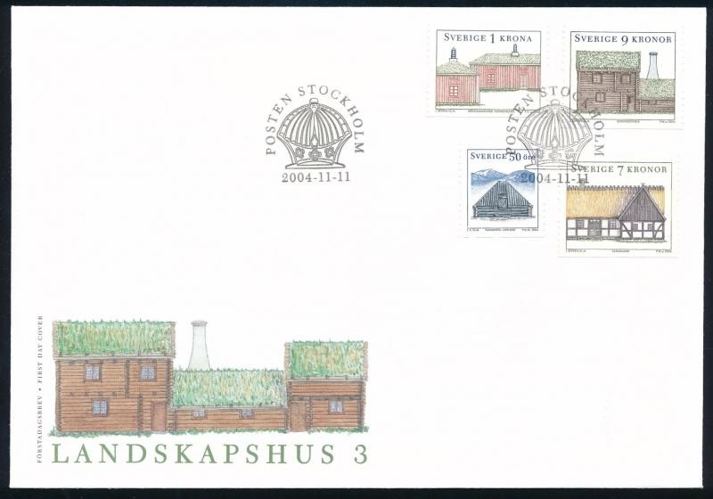 Northern Houses set on FDC, Északi házak sor FDC-n