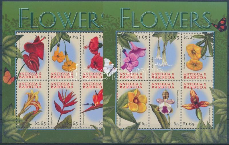 Flowers 2 diff minisheets, Virágok 2 klf kisív