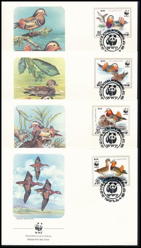 WWF Mandarin duck set of 4 FDCs, WWF Mandarinréce sor 4 FDC