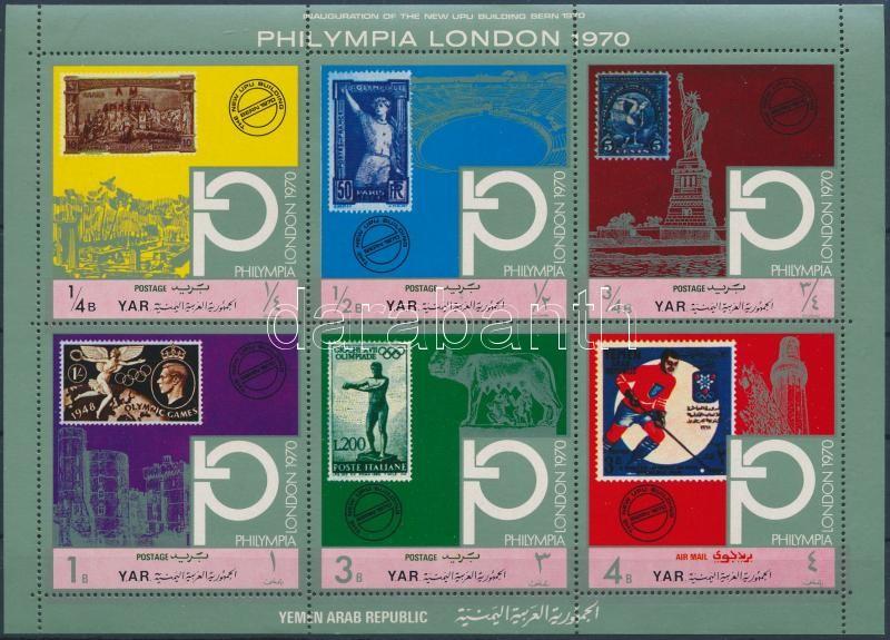 """Philatelic Exhibition """"Philympia London"""" mini sheet, Filatéliai kiállítás """"Philympia London"""" kisív"""