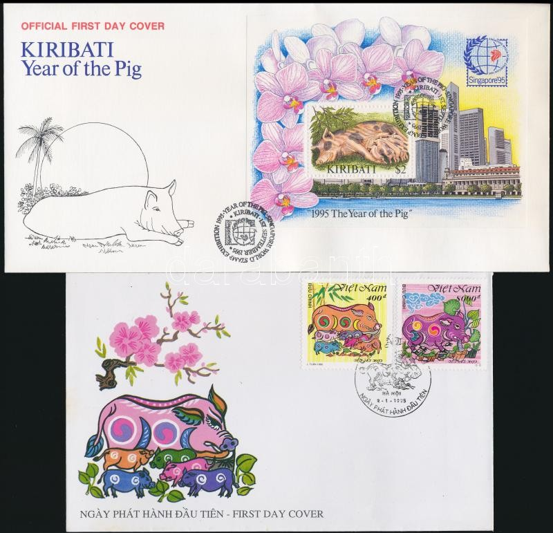 Kiribati, Vietnam The Year of the Pig 2 FDC, Kiribati, Vietnam A Disznó éve 2 FDC