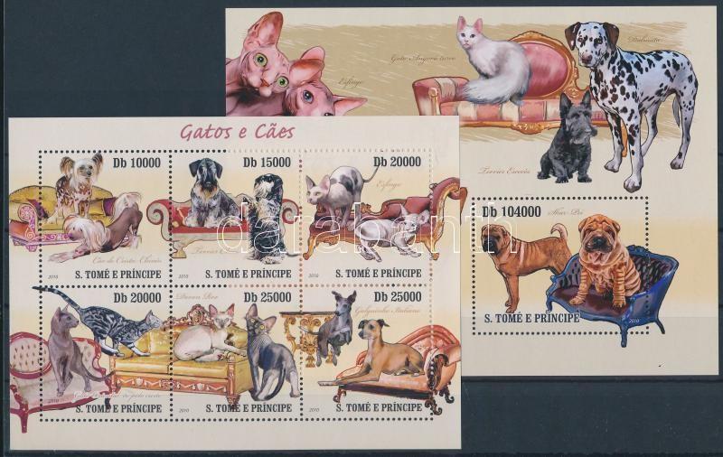 Dogs and cats minisheet + block, Kutyák és macskák kisív  + blokk