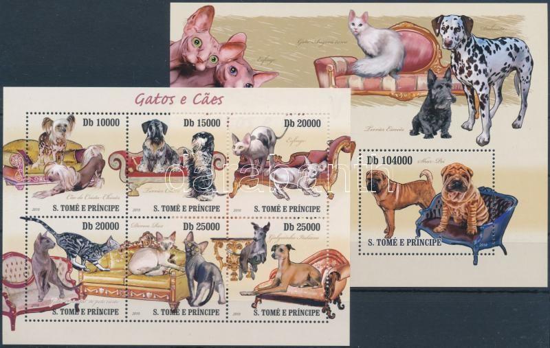 Dogs and cats mini sheet + block, Kutyák és macskák kisív + blokk