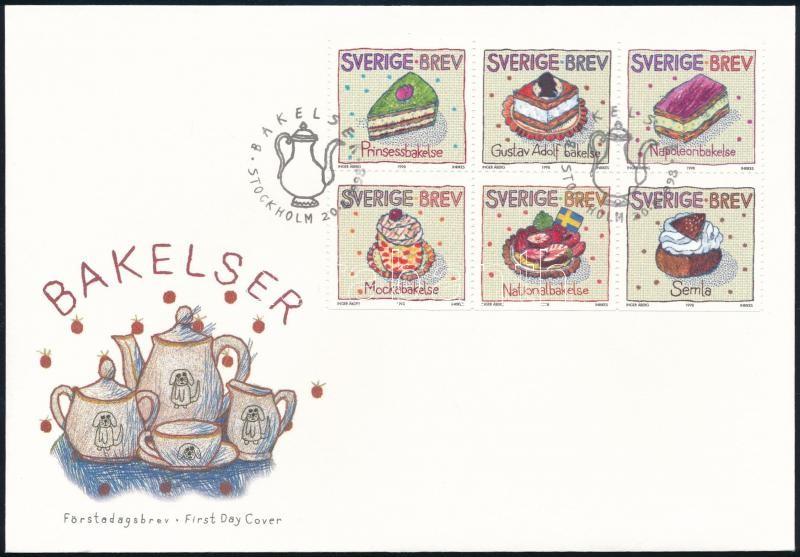 Cake stam-booklet sheet on FDC, Sütemény bélyegfüzetlap FDC-n