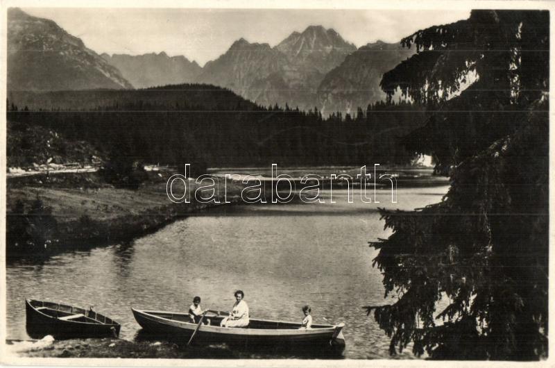 Nové Strbské Pleso / Neu Csorbersee / lake, hotel, rowing boat, Tátra, Új Csorba-tó, Móry szálloda, csónakázók