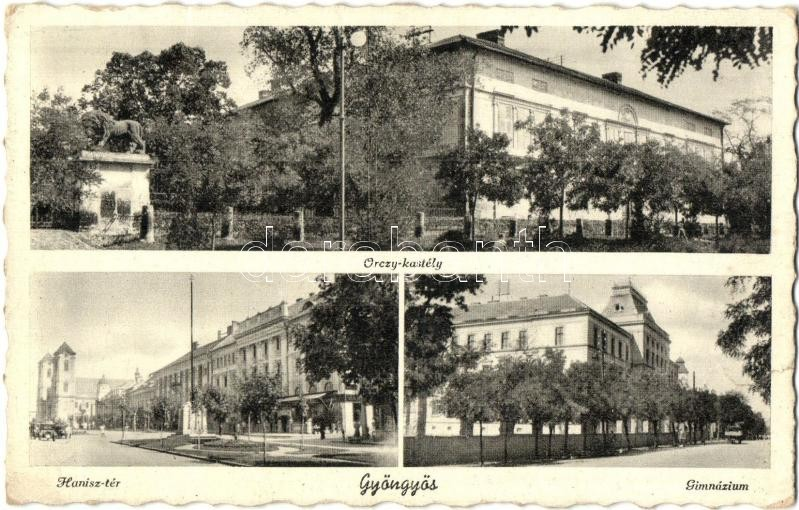 Gyöngyös, Orczy kastély, Hanisz Imre tér, automobil, gimnázium (szakadás / tear)