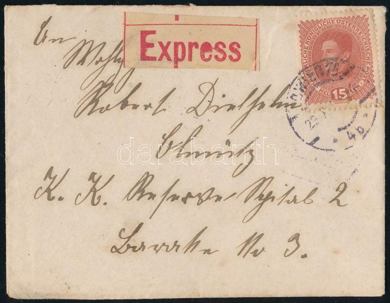"""Express letter ,,WIEN"""" - Olmütz, Expressz távolsági levél ,,WIEN"""" - Olmütz"""