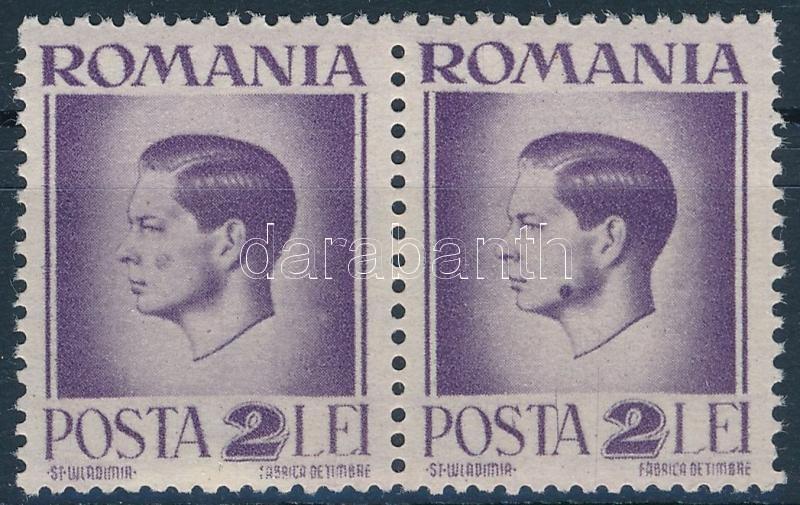 Mi 931 pair, on 1 stamp ink spot, Mi 931 pár, 1 bélyegen festékfolt az arcon
