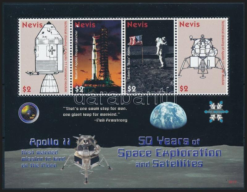 50 éves az űrkutatás kisív, Space Research mini sheet
