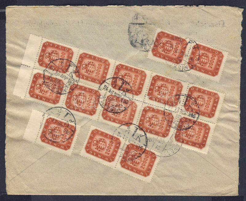 Inflation cover, 21. díjszabás 5x20000 + 10x30000 milpengő távolsági levélen