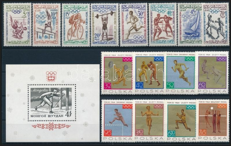 1960-1965 Sport motívum 3 db sor + 2 db blokk, 1960-1965 Sport 3 sets + 2 blocks