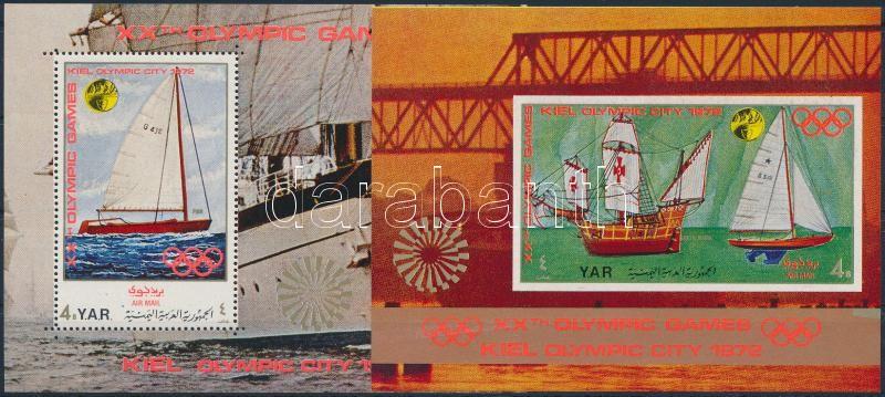 Olimpiai város, Kiel: Vitorlások kisív + 2 db blokk, Olympic City, Kiel: Sailboats silver-pink mini sheet + 2 blocks