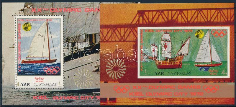 Olympic City, Kiel: Sailboats silver-pink mini sheet + 2 blocks, Olimpiai város, Kiel: Vitorlások kisív  + 2 db blokk
