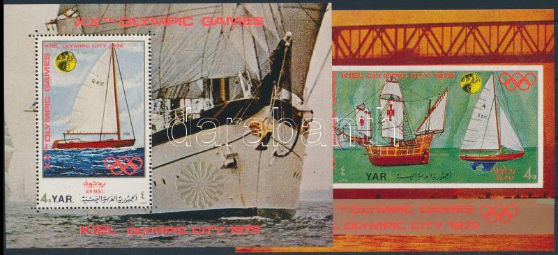 Kiel Olympic City: Sailboats mini sheet + 2 blocks, Olimpiai város, Kiel: Vitorlások kisív + 2 db blokk