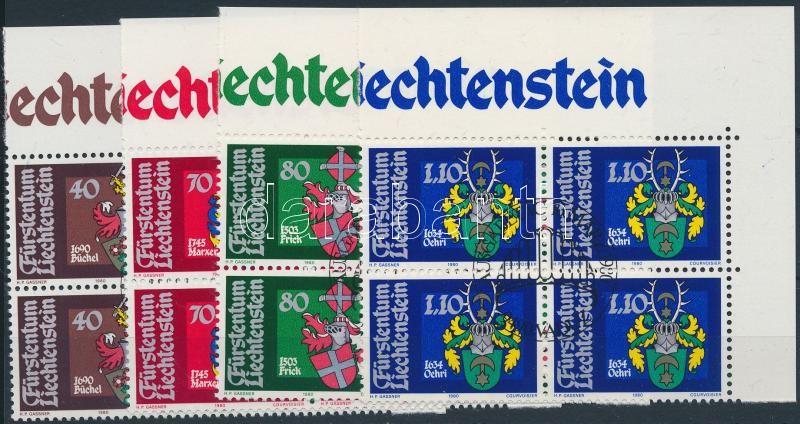 Coat of arms set corner blocks of 4 with first day cancellation, Címerek sor ívsarki 4-es tömbökben elsőnapi bélyegzéssel
