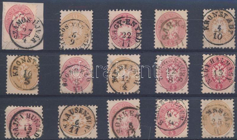 15 stamps with nice and readable cancellations, 15 db bélyeg szép / olvasható bélyegzésekkel