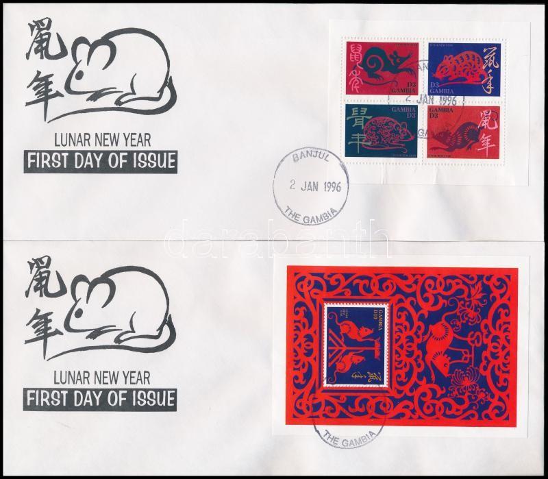 Chinese New Year mini sheet + block 2 FDC, Kínai újév kisív + blokk 2 FDC-n