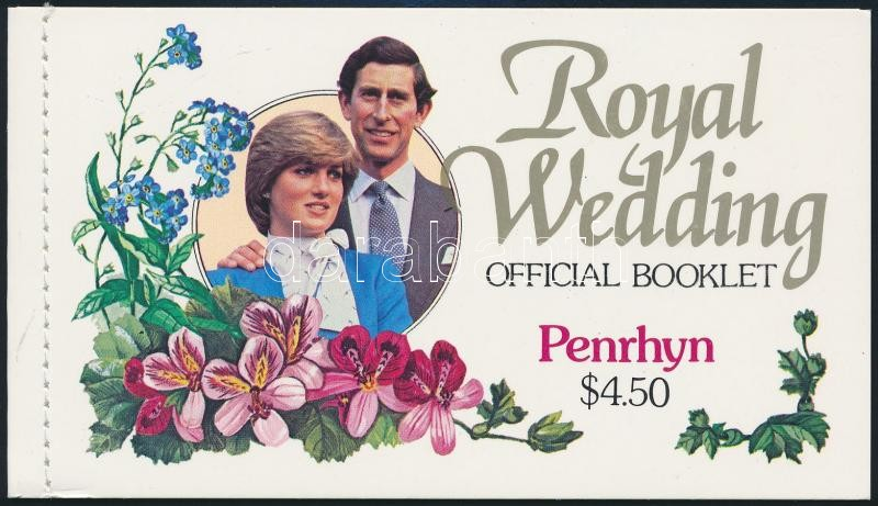 The wedding of Prince Diana and Charles stamp-booklet, Diana és Károly herceg esküvője bélyegfüzet
