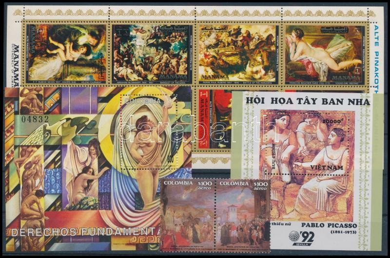1972-1993 Paintings 2 blocks + 1 mini sheet + 2 stamps, 1972-1993 Festmény motívum 2 db blokk + 1 kisív + 2 db önálló érték