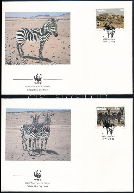 WWF: Zebra set on 4 FDCs + set, WWF: Zebra sor 4 FDC-n + sor