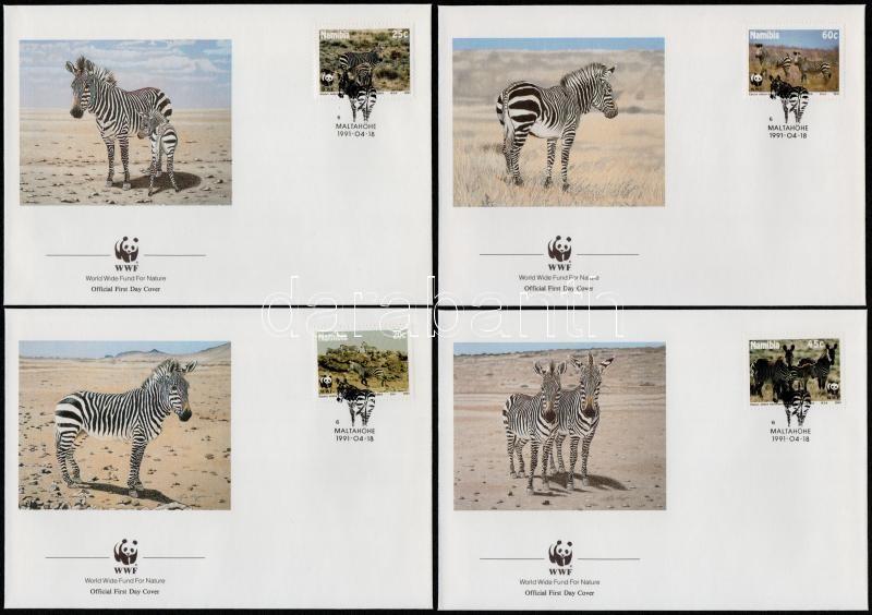 WWF Zebra set on 4 FDCs + set, WWF: Zebra sor 4 FDC-n + sor