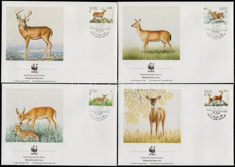 WWF White - tailed deer set + set on 4 FDCs, WWF: Szarvasok sor  4 FDC-n + a sor WWF-es értékei