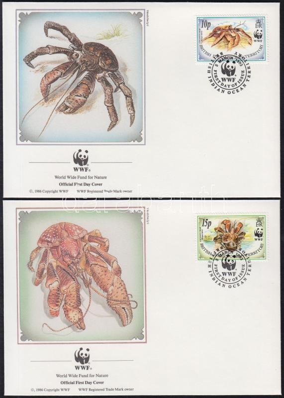 WWF: Coconut crab set on 4 FDCs, WWF: Pálmatolvaj sor 4 FDC-n