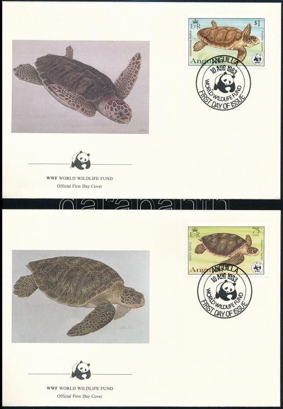 WWF: Turtles set on 4 FDCs, WWF: Teknős sor 4 db FDC-n