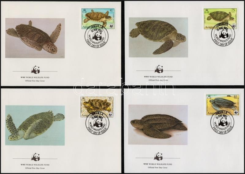 WWF Turtles set on 4 FDC-s, WWF: Teknős sor  4 db FDC-n