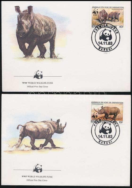 WWF Black rhinoceros set + FDC, Keskenyszájú orrszarvú sor + FDC-n