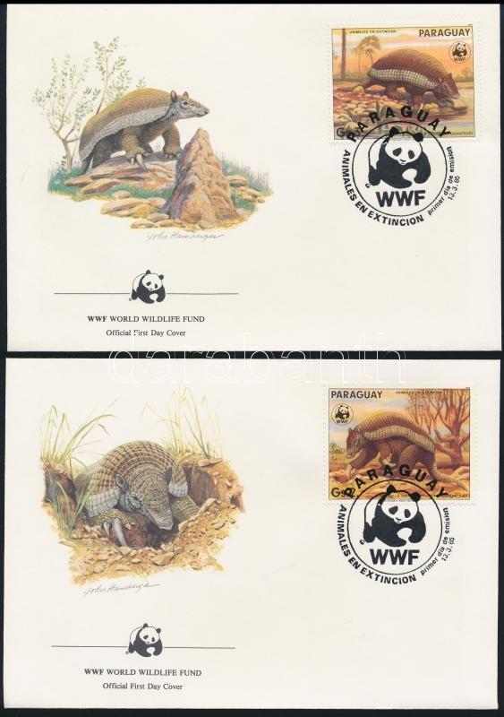 WWF capybara set closing value on 4 FDC-s, WWF: Vízidisznó sor záróértékei  4 db FDC-n