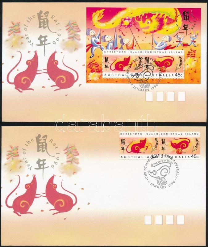 Chinese New Year: Year of the Rat pair + block on 2 FDCs, Kínai újév: A patkány éve pár + blokk 2 db FDC-n
