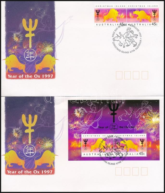 Chinese New Year: The year of the Buffalo pair + block on 2 FDC, Kínai újév: A bivaly éve pár + blokk 2 db FDC-n