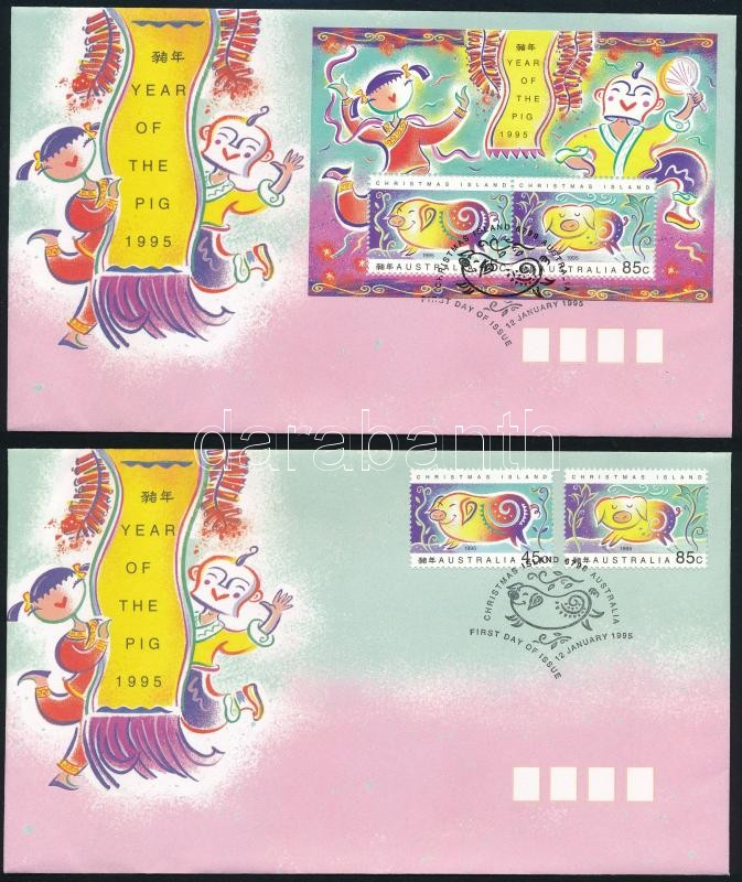 Chinese New Year: Year of the Pig set + block on 2 FDCs, Kínai újév: A disznó éve sor + blokk 2 db FDC-n