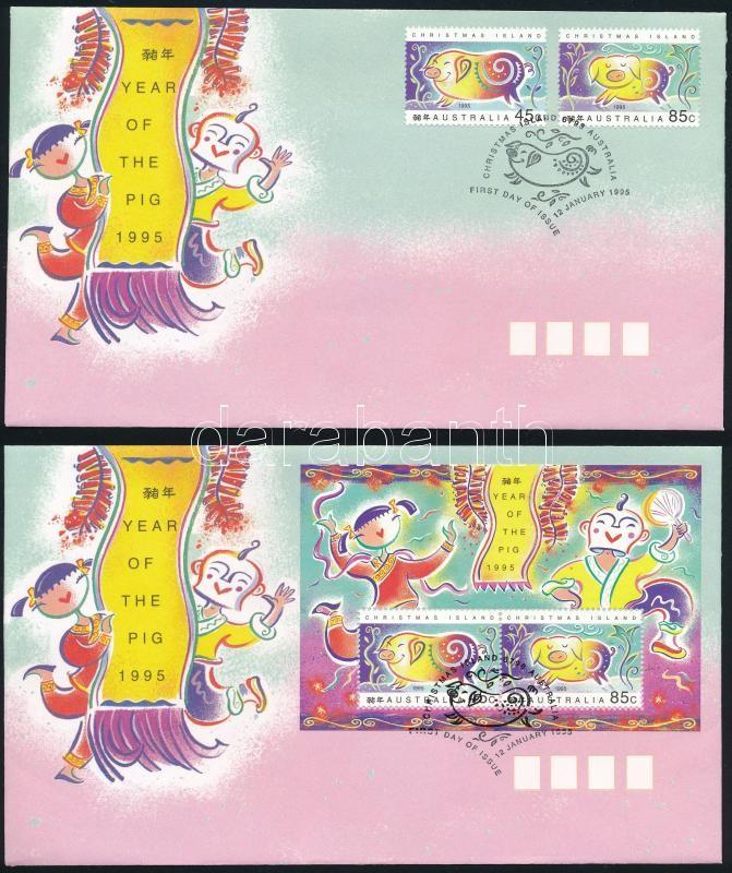 Chinese New Year: Year of the Pig set + block on 2 FDCs, Kínai újév: A disznó éve sor + blokk 2 db FDC-n