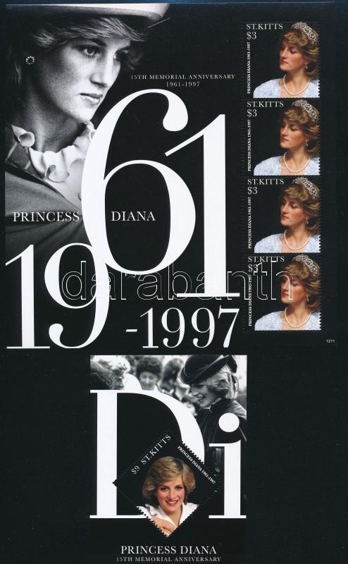 15th anniversary of Princess Diana's death mini sheet + block, Diana hercegnő halálának 15. évfordulója kisív + blokk