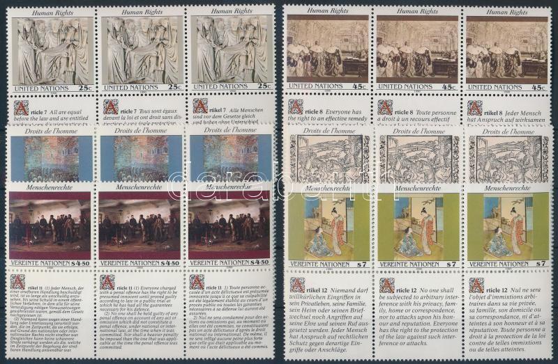 Vienna, Geneva, New York Human Rights 3 sets in stripes of 3, Bécs, Genf, New York Emberi jogok 3 klf sor 3-as csíkokban