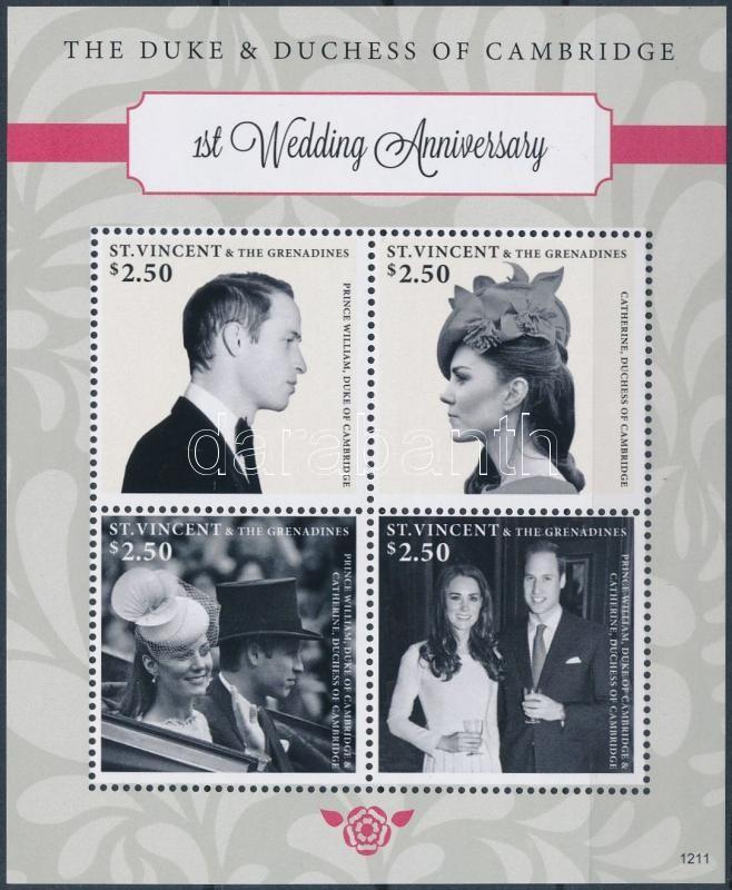 Prince William and Kate Middleton's 1st Wedding Anniversary mini sheet, William herceg és Kate Middleton 1 éves házassági évfordulója kisív