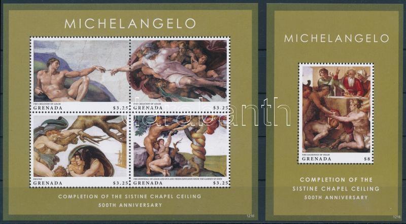 Michelangelo - The ceiling of the Sixtus chapel mini sheet + block, Michelangelo - A Sixtus-kápolna mennyezetfreskója kisív + blokk