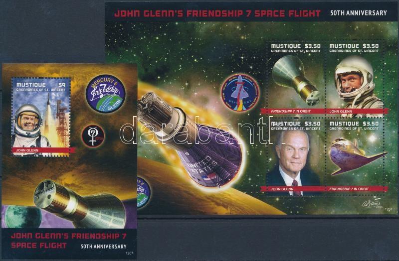 John Glenn, astronaut mini sheet + block, John Glenn, űrhajós kisív + blokk
