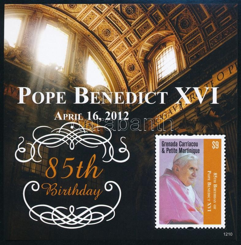Pope Benedict XVI mini sheet + block, XVI Benedek pápa 85. születésnapja kisív + blokk