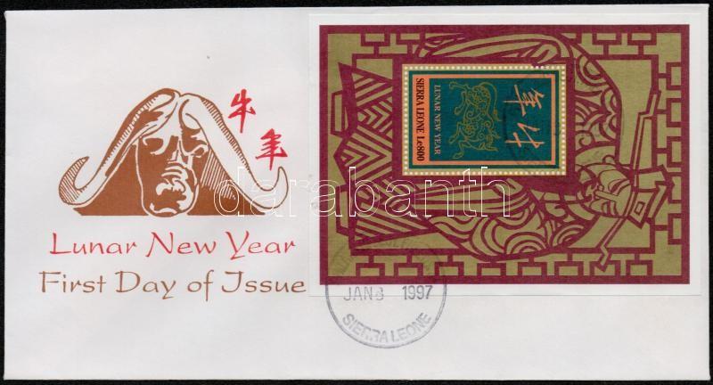 Chinese New Year: Year of the Buffalo mini sheet + block 2 FDC, Kínai újév: a bivaly éve kisív + blokk  2 db FDC-n