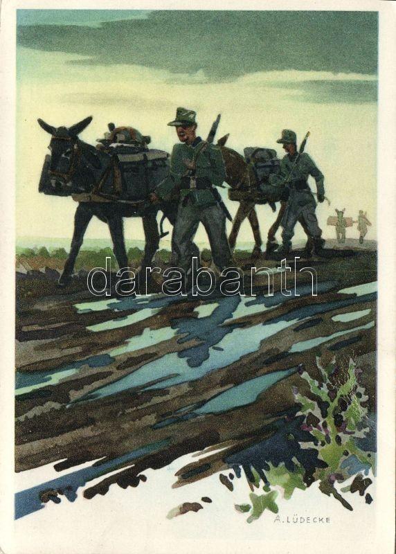 Military, soldiers, donkey s: A. Lüdecke, Katonák, szamár s: A. Lüdecke