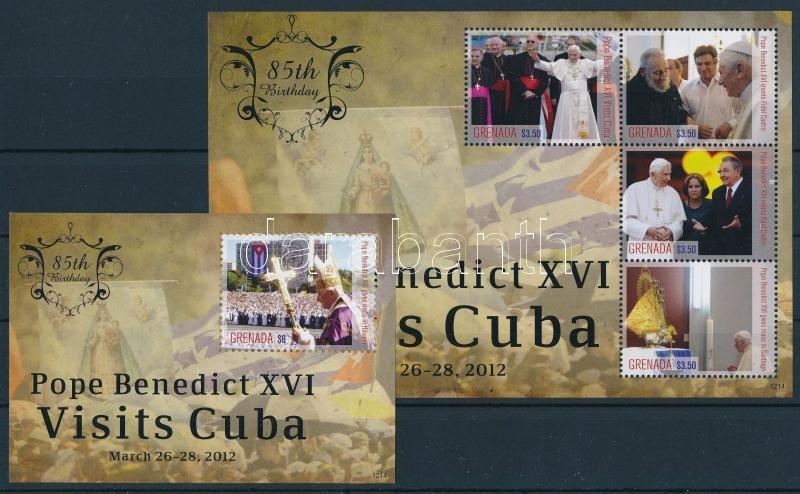 Pope Benedict XVI visit to Cuba minisheet + block, XVI. Benedek pápa kubai látogatása kisív + blokk